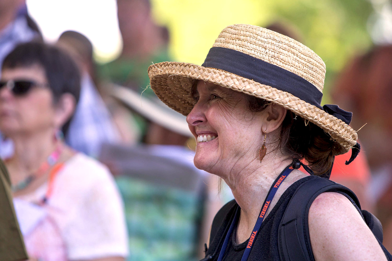 Lisa Reilly, who directed the workshop, joined participants for a tour of Monticello. (Photo by Sanjay Suchak)