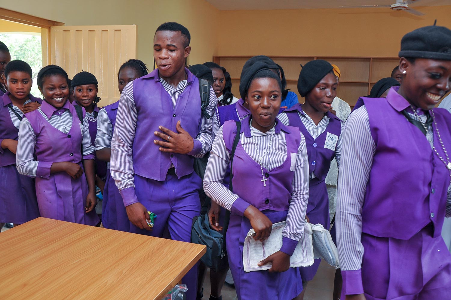 Students at Nigeria's St. Theresa's Catholic School see their new library for the first time.