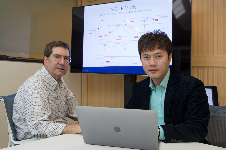 Senior developer Andy Ortiz, left, and Myung spent six months designing the simulation.