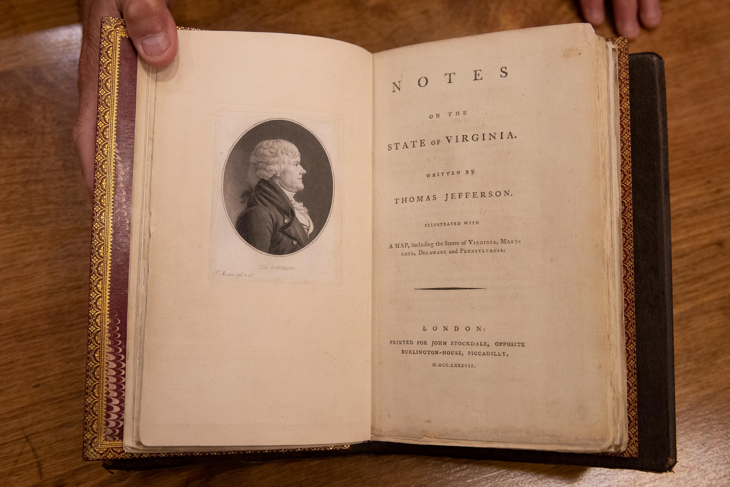 """Title page of """"Notes on the State of Virginia"""" by Thomas Jefferson"""