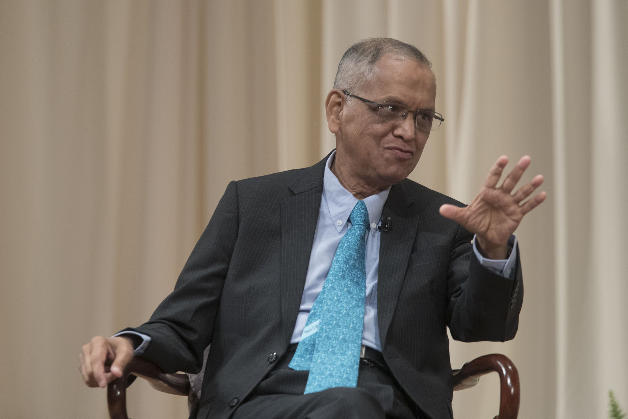 Infosys founder and former CEO and Chairman Narayana Murthy spoke Wednesday at the Darden School of Business. (Photo by Dan Addison, University Communications)