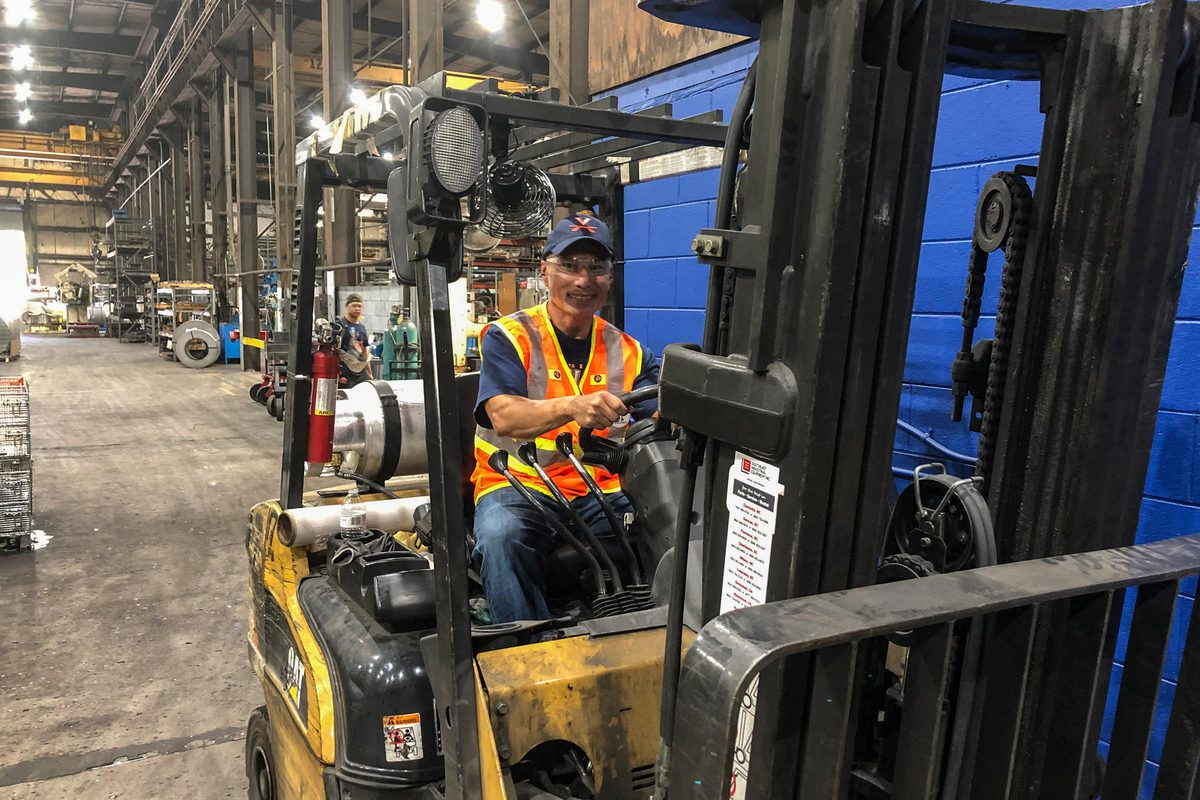 At a company where he used to work, Patasomcit once painted a forklift UVA blue and orange.