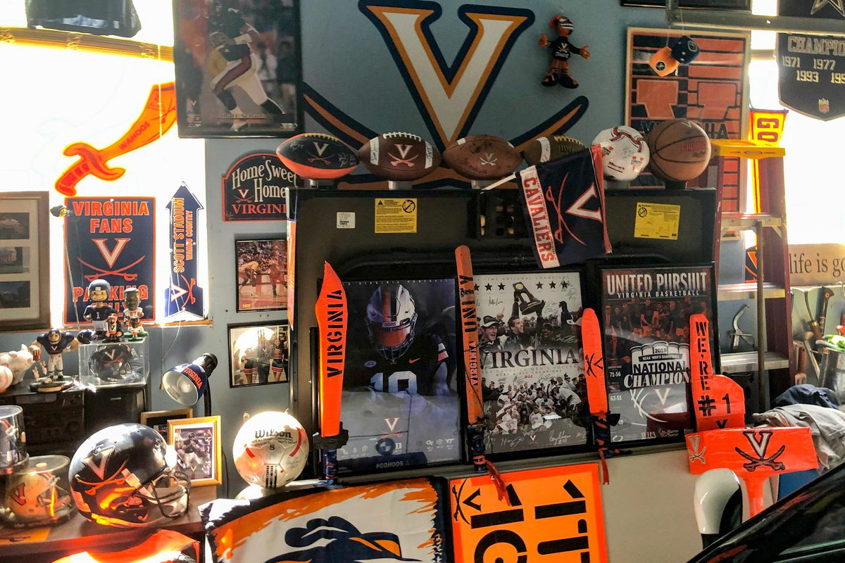 Patasomcit has turned his family's two-car garage into a UVA man cave.