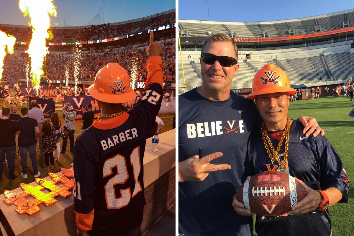 Patasomcit exults in his Tiki Barber jersey during pregame introductions, left, and poses with Cavalier head coach Bronco Mendenhall.