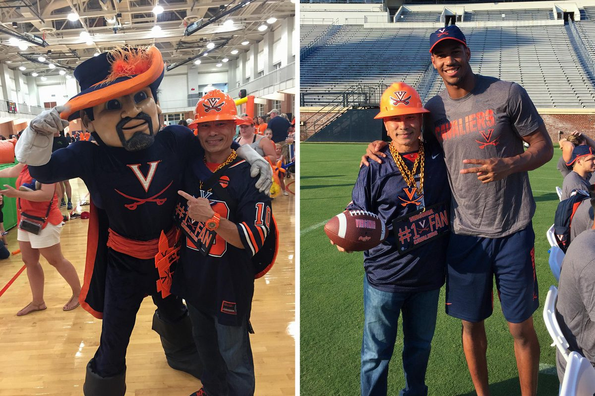 Always approachable, Patasomcit poses for pregame pictures with many people – and mascots.