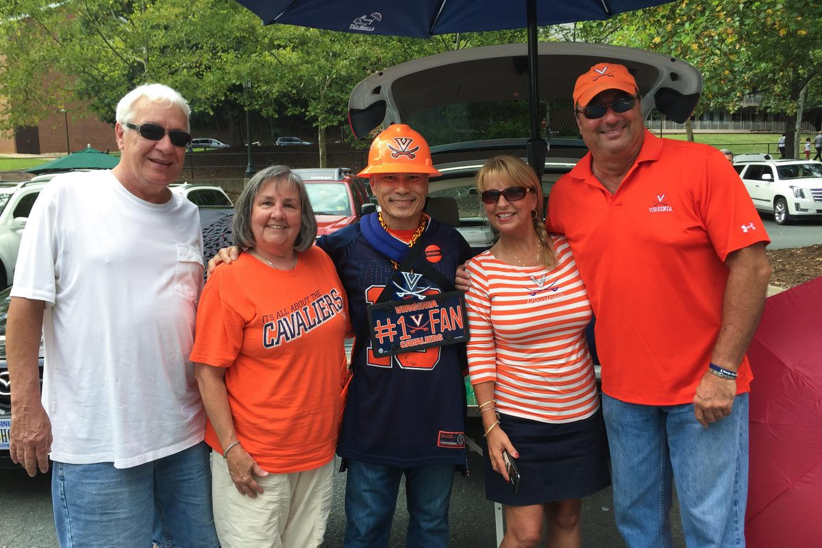 Pregame tailgates are a big draw for Patasomcit, who revels in UVA's game-day atmosphere.