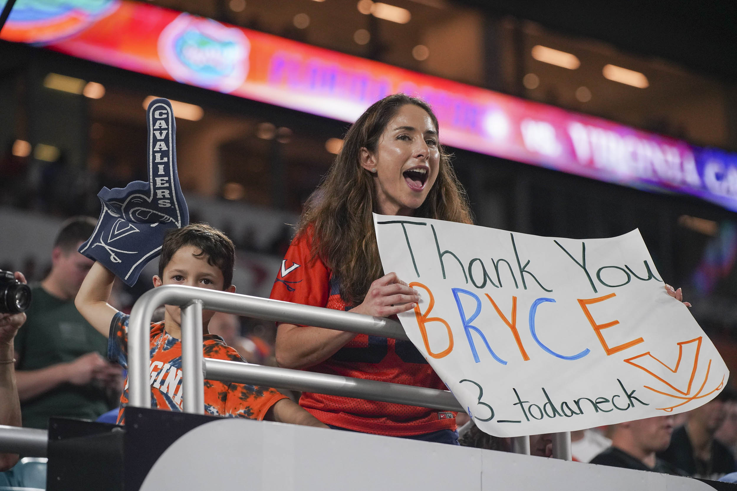 Fans made sure to show their appreciation for UVA players playing in their final game, including Bryce Perkins.