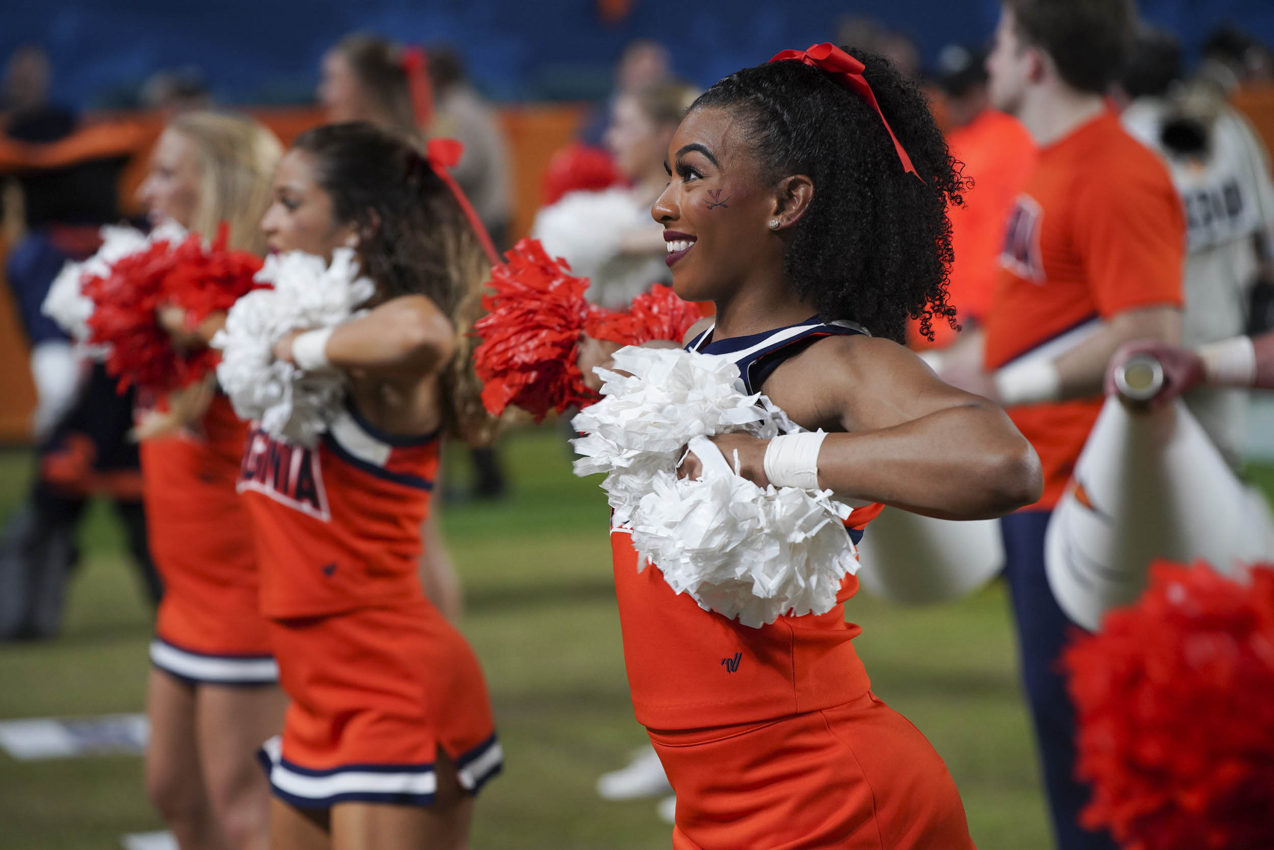 Along with the band, UVA's cheerleading team was hard at work all weekend, from pre-game pep rallies to sideline cheers.
