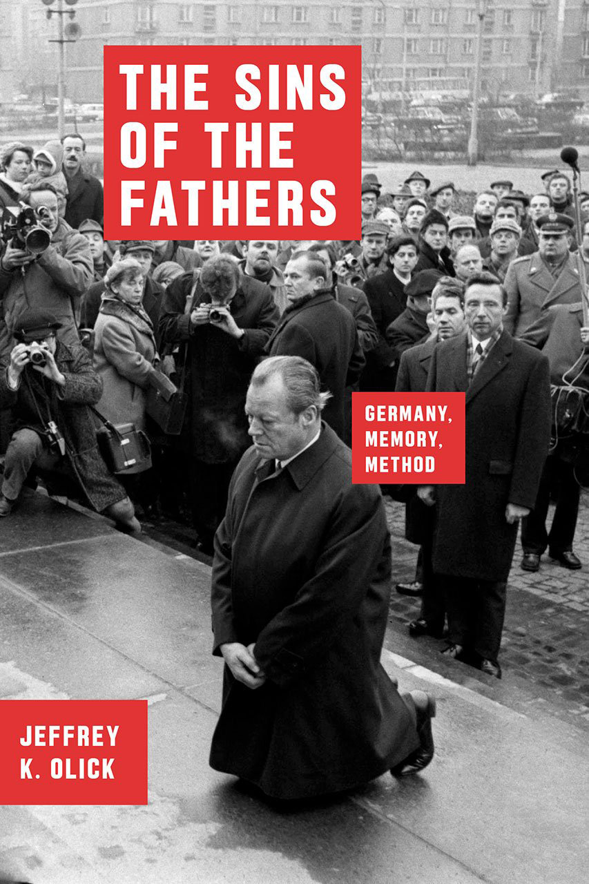 The book cover photo depicts German Chancellor Willy Brandt spontaneously kneeling at the Warsaw Ghetto Memorial in 1970.