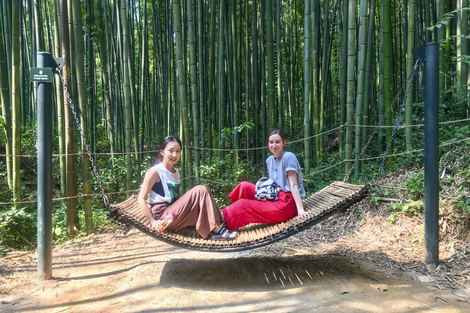 Olivia Grotenhuis (right) relaxes with Yoo Hyang, a graduate student at Chonnam University School of Medicine and her language partner.