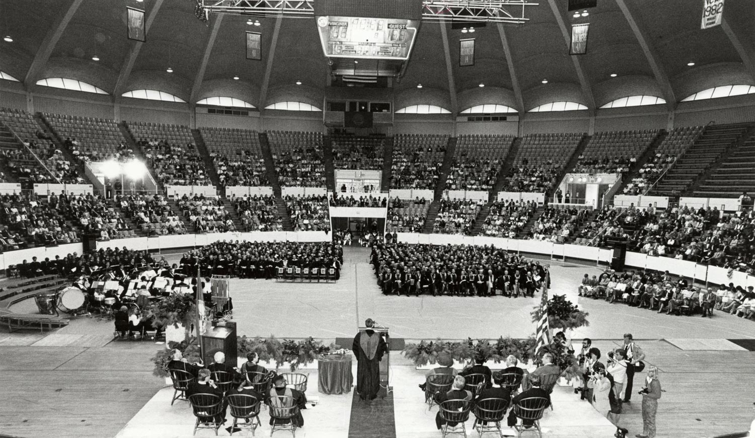 The inauguration of President Robert M. O'Neil, due to bad weather, took place indoors. O'Neil died in September at age 83.