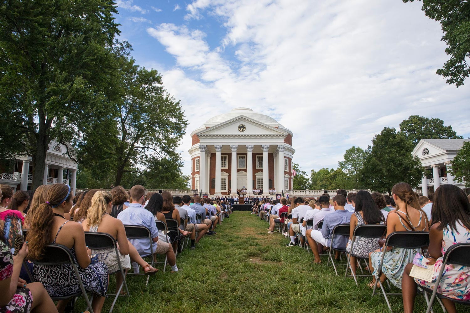 During Opening Convocation, students face the Rotunda. Four years later, they will face Old Cabell Hall at graduation, serving as a bookend to their careers at UVA.