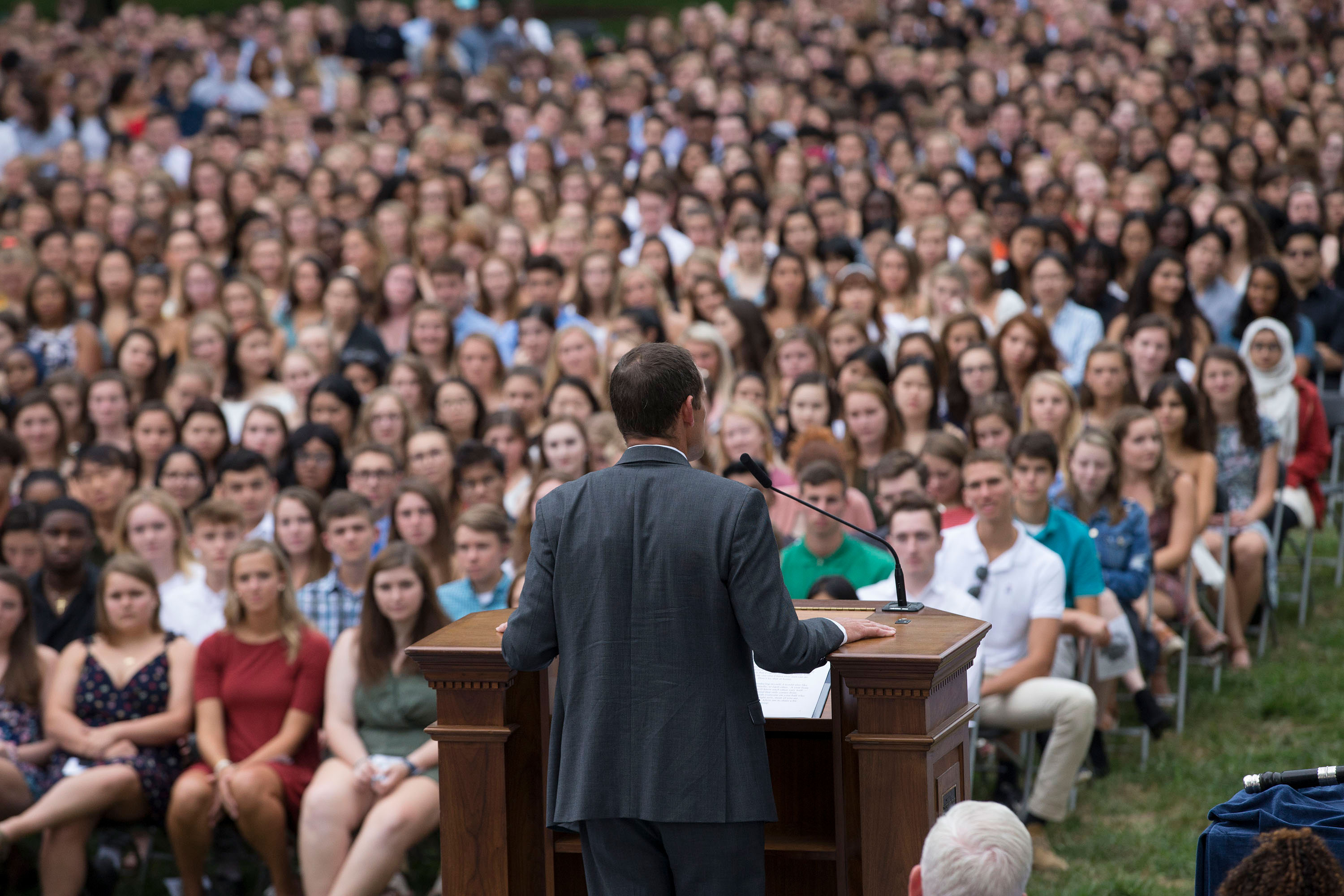In his first address to the Class of 2023, President Jim Ryan encouraged students to be open to new experiences and overcome fears.