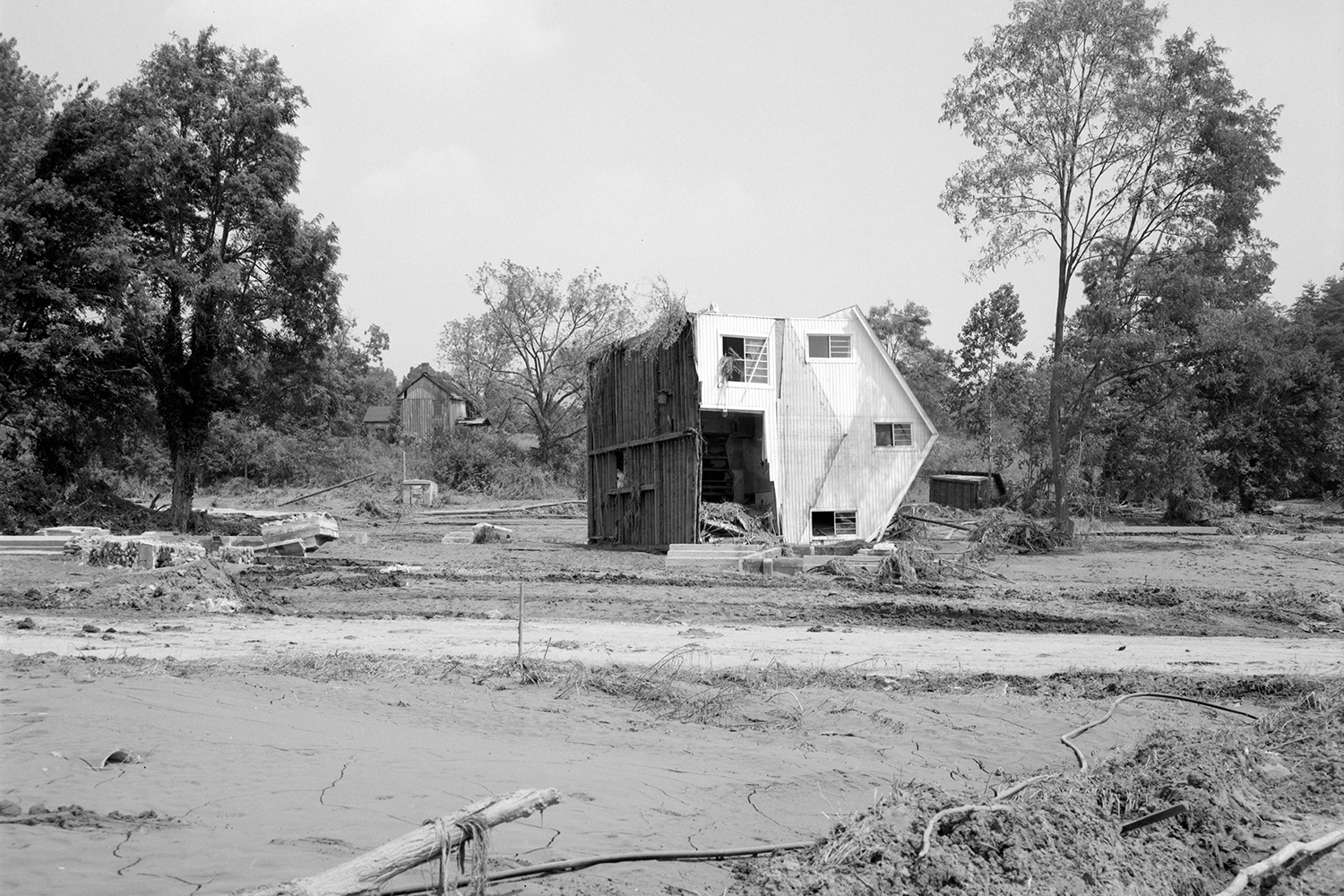 This Nelson County home was turned on its side by floodwaters. (Photo courtesy The Library of Virginia/Flickr Commons)
