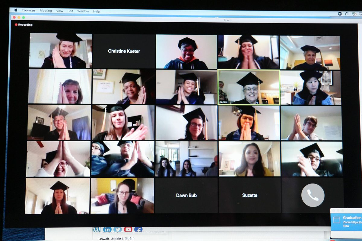Seen here applauding are some of Sierschula's classmates, her UVA Health colleagues, staff and many family members and friends attended her virtual graduation ceremony on Zoom.