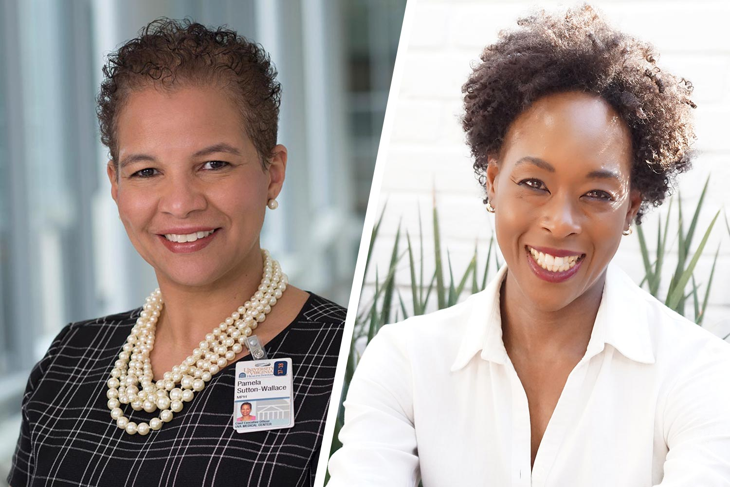 Pamela Sutton-Wallace, left, and Margot Shetterly received Alpha Kappa Alpha sorority's EPOCH Awards for health and global impact and the arts, respectively. (Photos by Jackson Smith and Aran Shetterly)