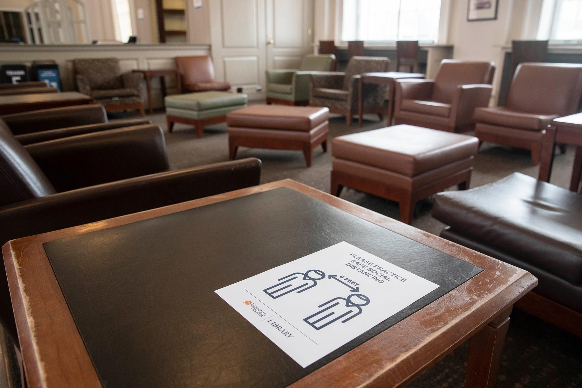 Around Alderman staff have posted reminders about safe social distancing on tables; however, the normally popular lounge remained empty.