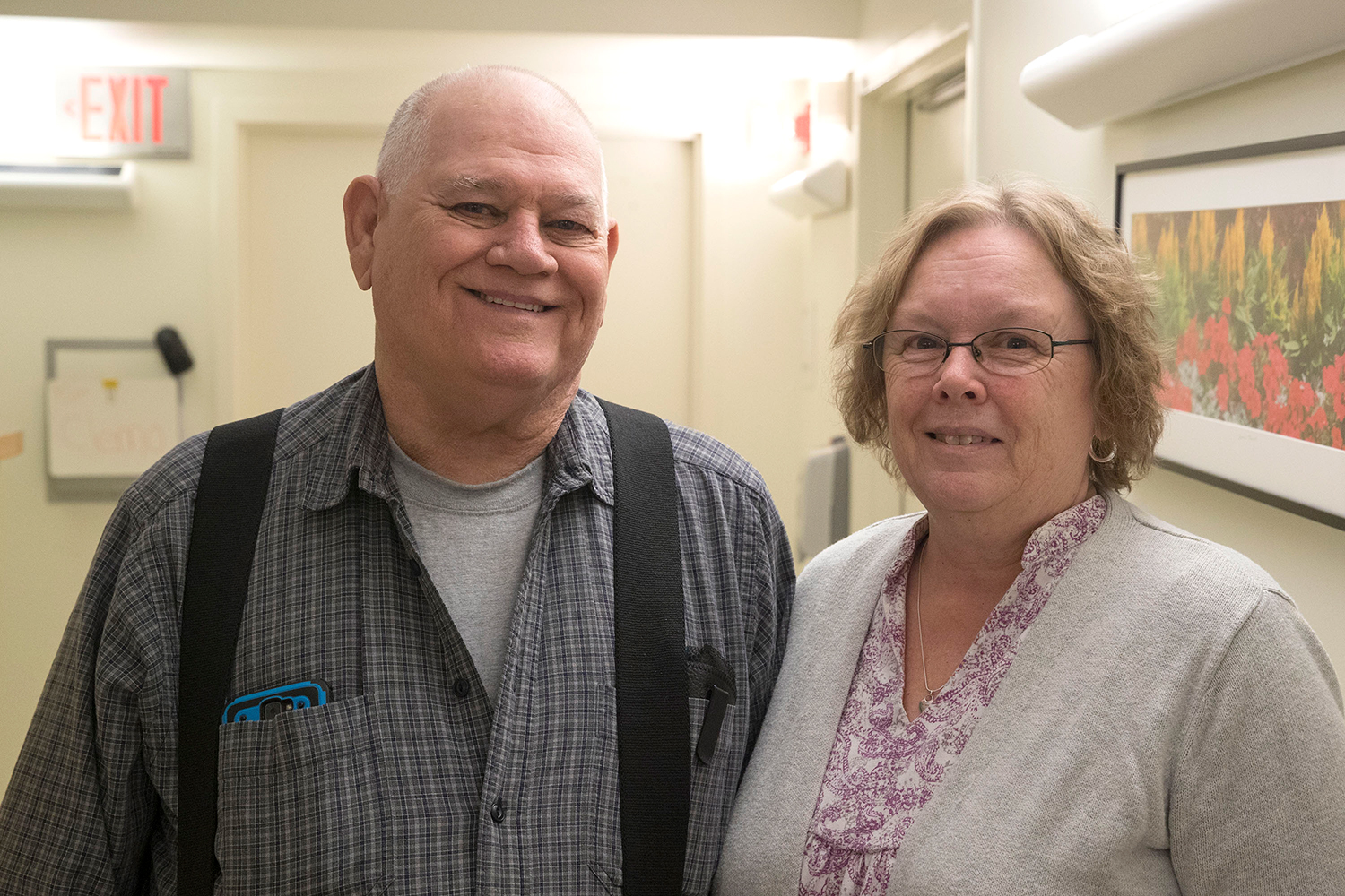 Gordonsville resident Leo Kingrea (left) and his partner, Venna Wiest, say the UVA Health System's Patient-Student Partnership has been a big help. (Photo by Dan Addison, University Communications)