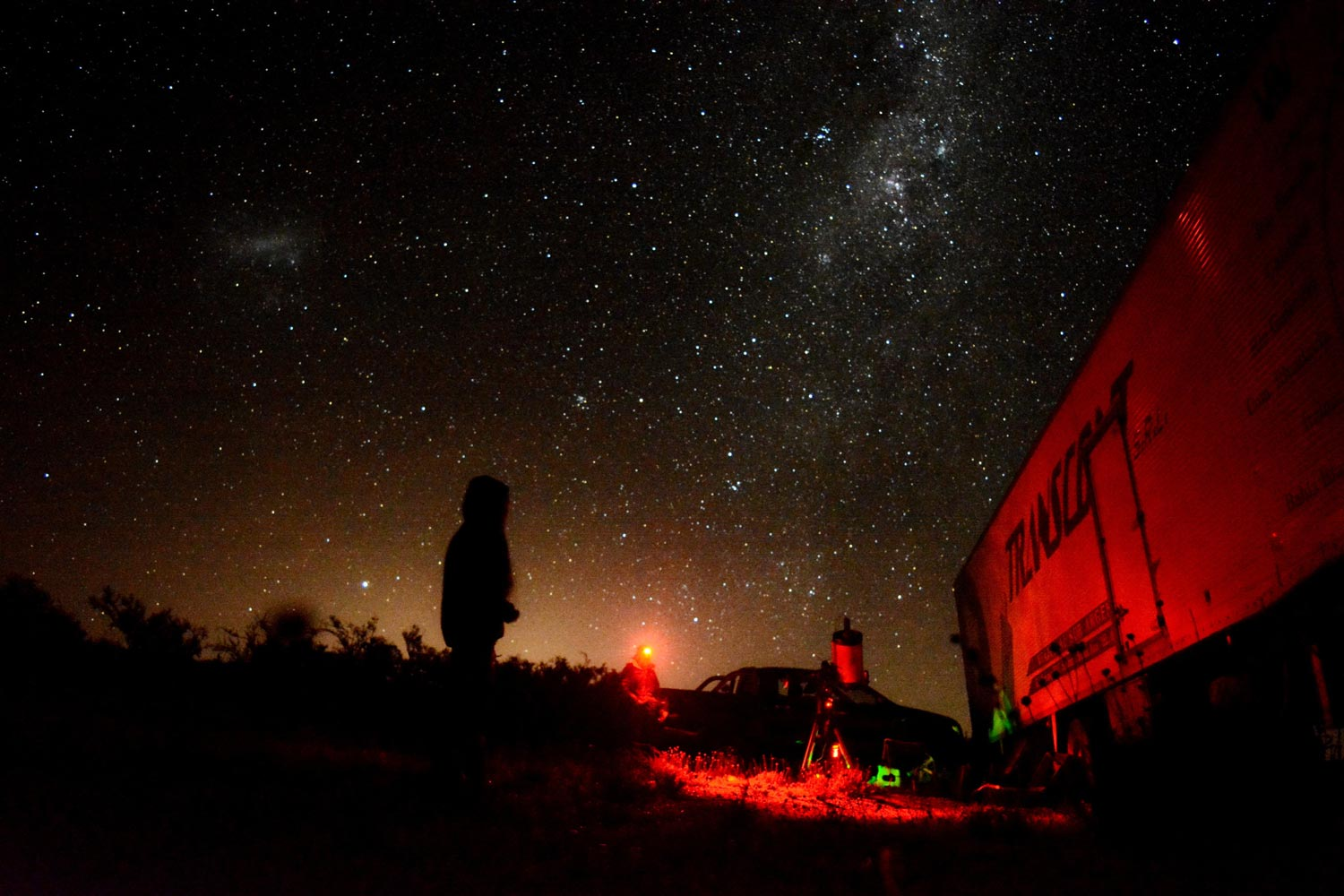 Students with a telescope outside at night