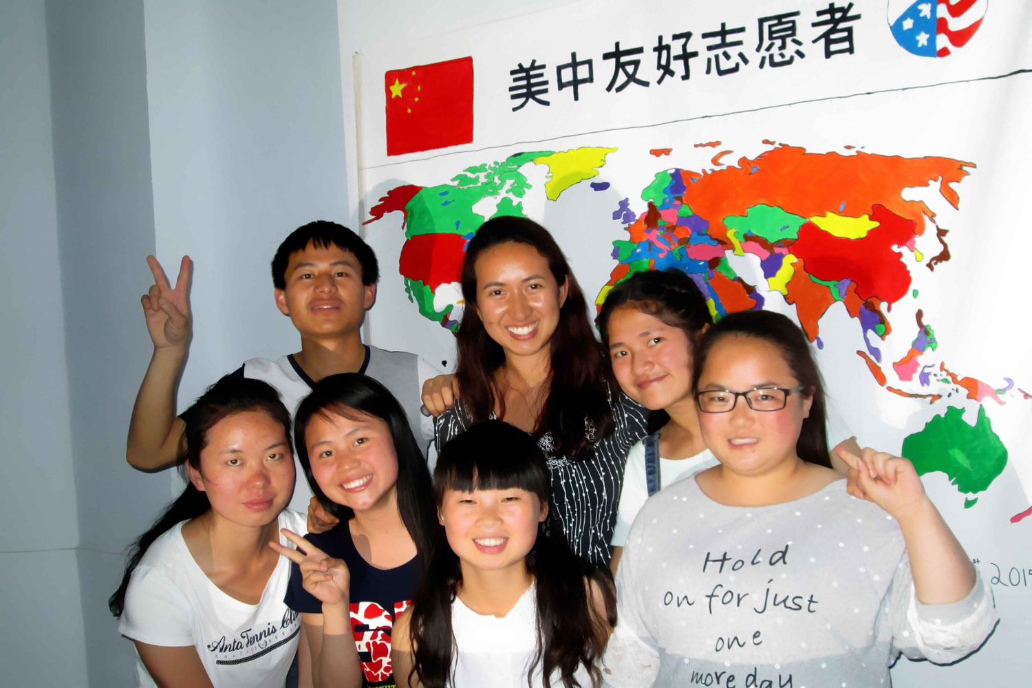 Former Peace Corps volunteer and UVA alumna Angelina Loverde, pictured here with her students, taught English in the southwestern Chinese province of Guizhou from 2013 to 2015. (Contributed photo)
