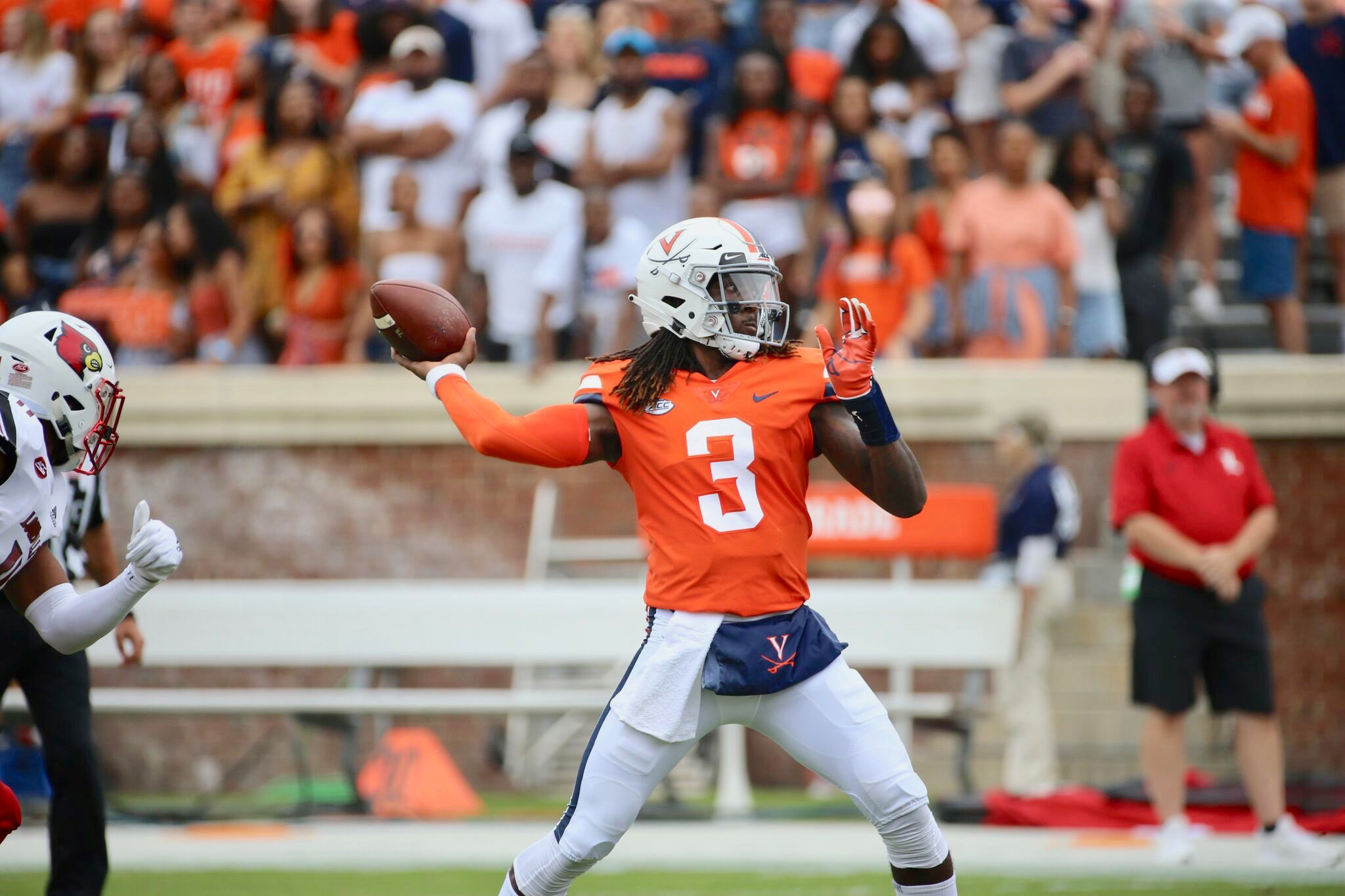 Quarterback Bryce Perkins is in his second year playing for the Cavaliers.