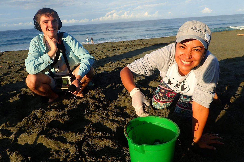 James Perla and Crisbellt Alvarado Rezola collect turtle eggs at Osa Conservation in Costa Rica. (Photo by Crisbellt Alvarado Rezola)