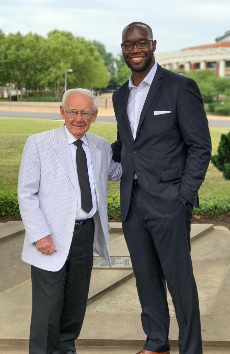 "Alumnui Robert ""Bob"" Hardaway Jr., left, and Sadiq Olanrewaju, both former UVA football players, met over the summer."