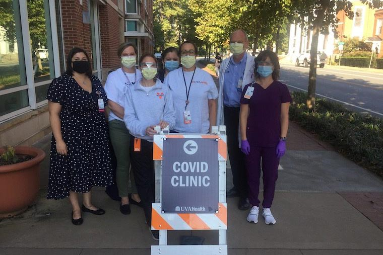 The COVID-19 study team includes Bridgette Arlook, Christy Breeden, Rebecca Wade, Crystal Reed, Jennifer Pinnata, Dr. William Petri Jr. and Andrea Stanley. (Contributed photo)