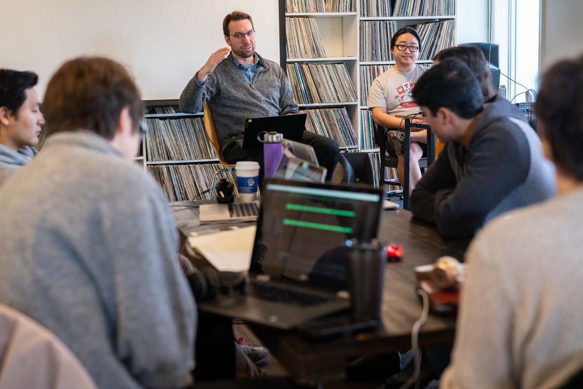 WTJU's Nathan Moore shared his love for storytelling with a class of January term students.