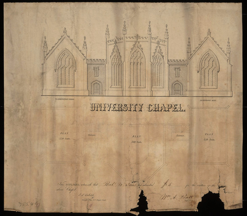 It's not clear where exactly on the Lawn this version of the chapel would have been built. (Source: Albert and Shirley Small Special Collections Library)