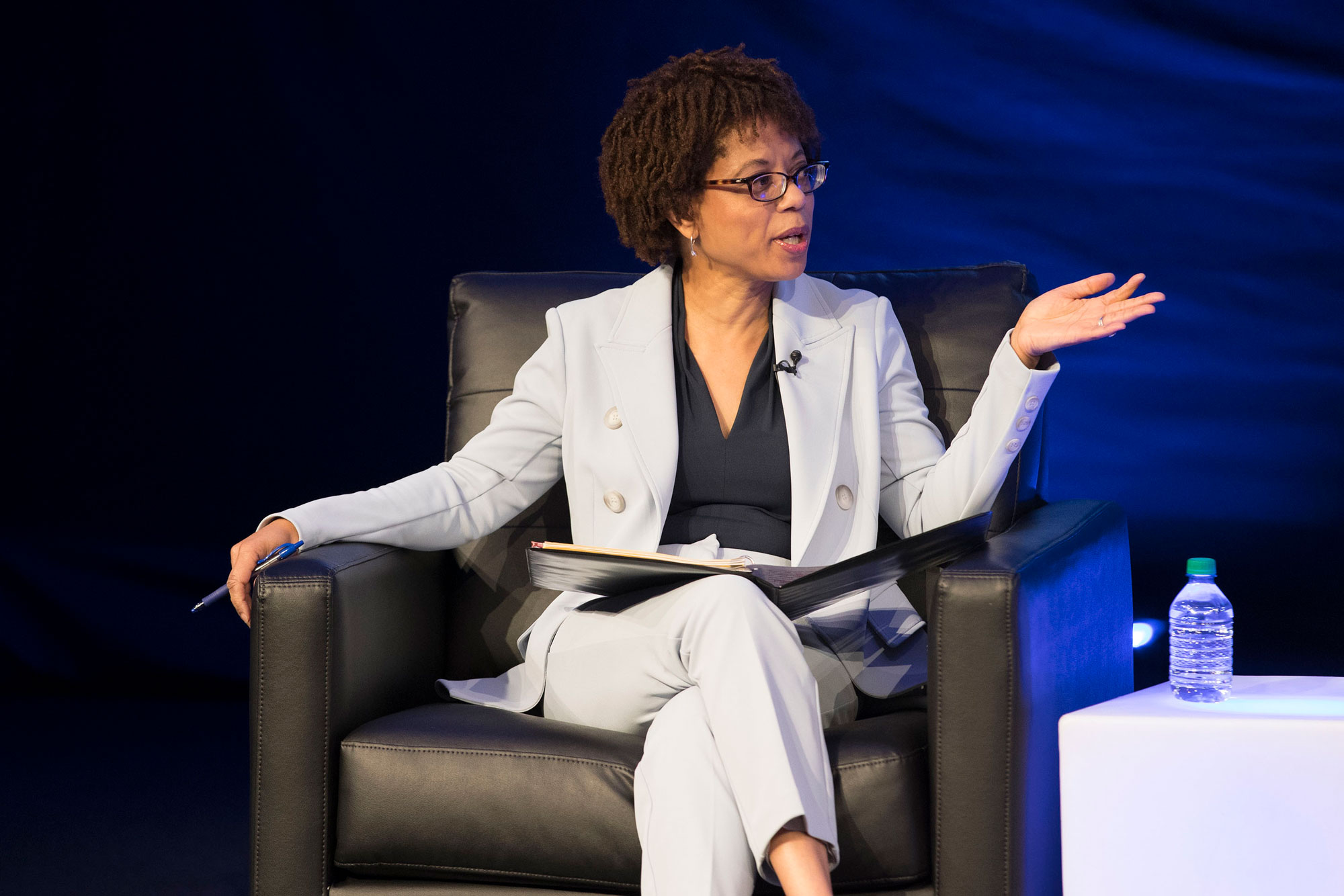 Melody Barnes, co-director of UVA's Democracy Initiative, moderated a Thursday panel on the state of democracy worldwide. (Photo by Dan Addison, University Communications)