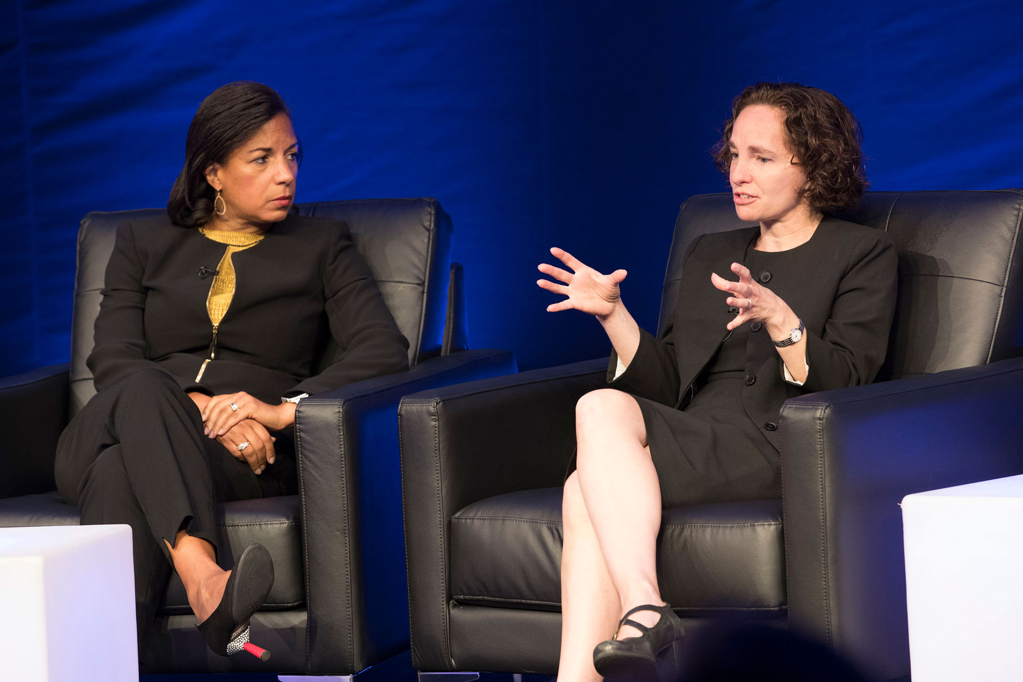 Susan Rice, left, drew on firsthand experience in the White House while School of Law Dean Risa Goluboff offered perspective from her expertise in constitutional law. (Photo by Dan Addison, University Communications)