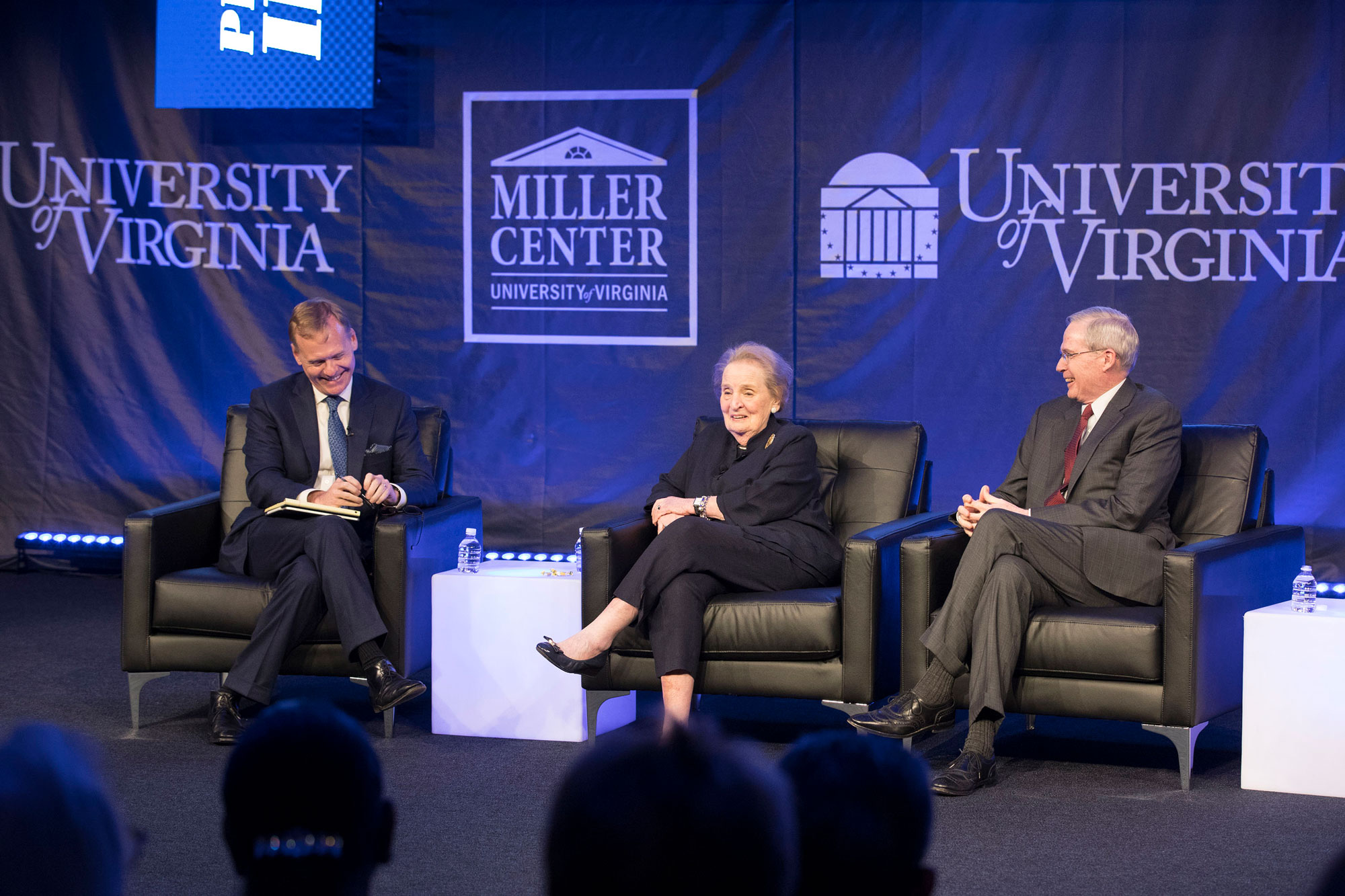 Former Secretary of State Madeleine Albright, center, and foreign policy adviser Stephen Hadley, right, kicked off the festival with moderator John Dickerson. (Photo by Dan Addison, University Communications)