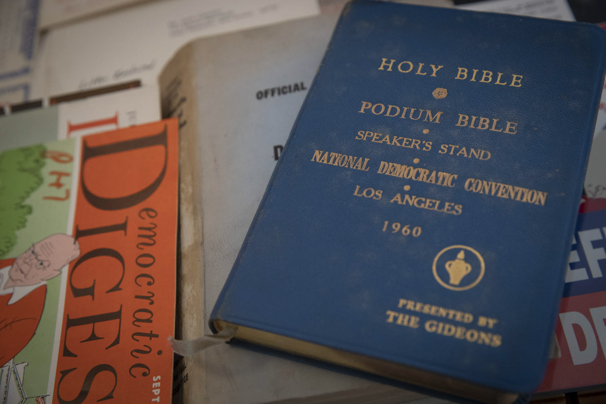 This Bible was on the podium when Sen. John F. Kennedy spoke after accepting his party's nomination in 1960.