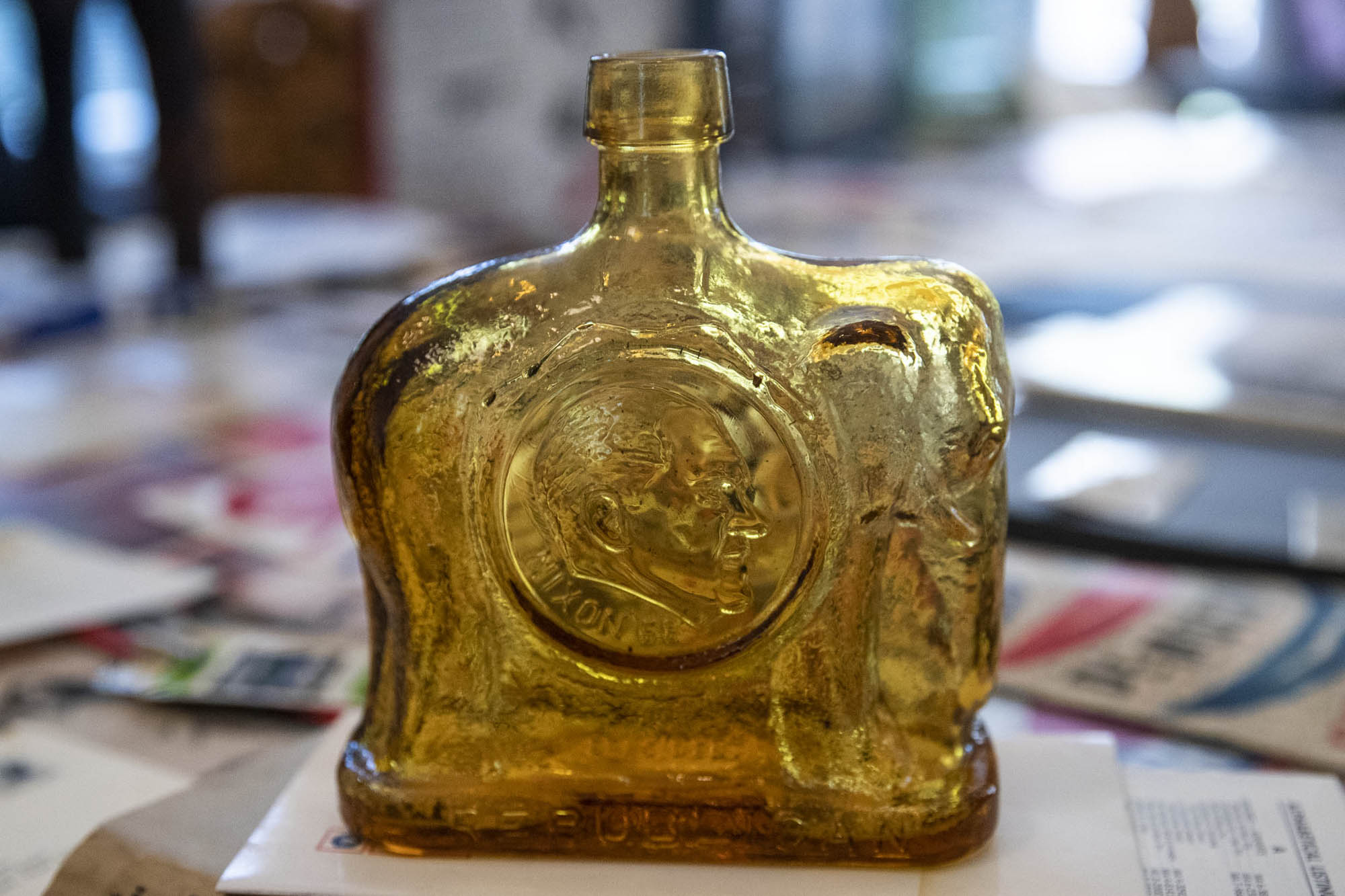 An elephant-shaped commemorative bottle, complete with the candidate's face, issued by the Nixon campaign.