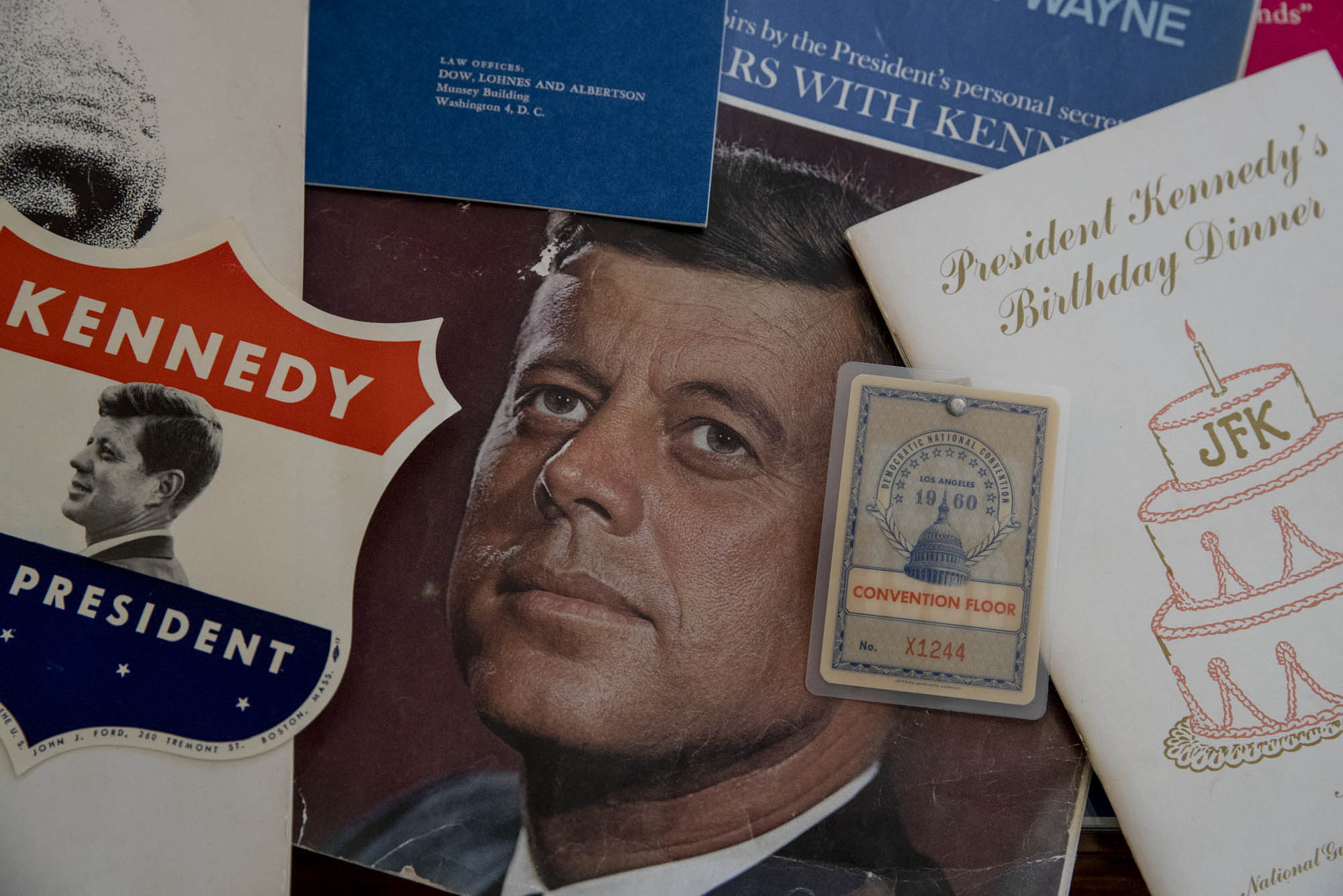 Memorabilia from John F. Kennedy's campaign and presidency makes up a large part of the collection.