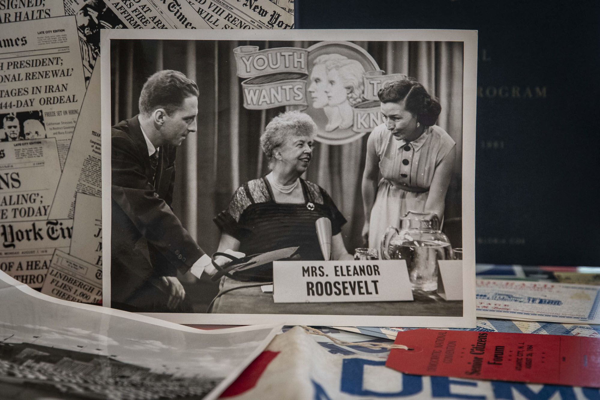 "Christie, left, with Eleanor Roosevelt on the set of ""Youth Wants to Know."""