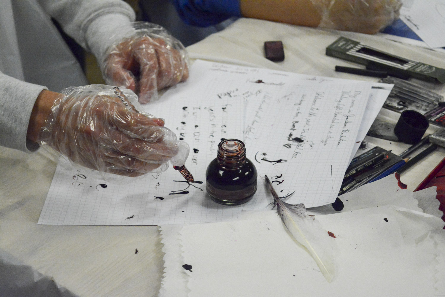 "Students made their own ink and tried different kinds of nibs and goose quills in the Wilson Hall maker studio, as part of the ""Writing as/and Technology"" course."