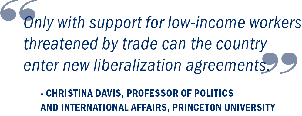 """Only with support for low-income workers threatened by trade can the country enter new liberalization agreements."" Christina Davis, Professor of Politics and International Affairs, Princeton University"