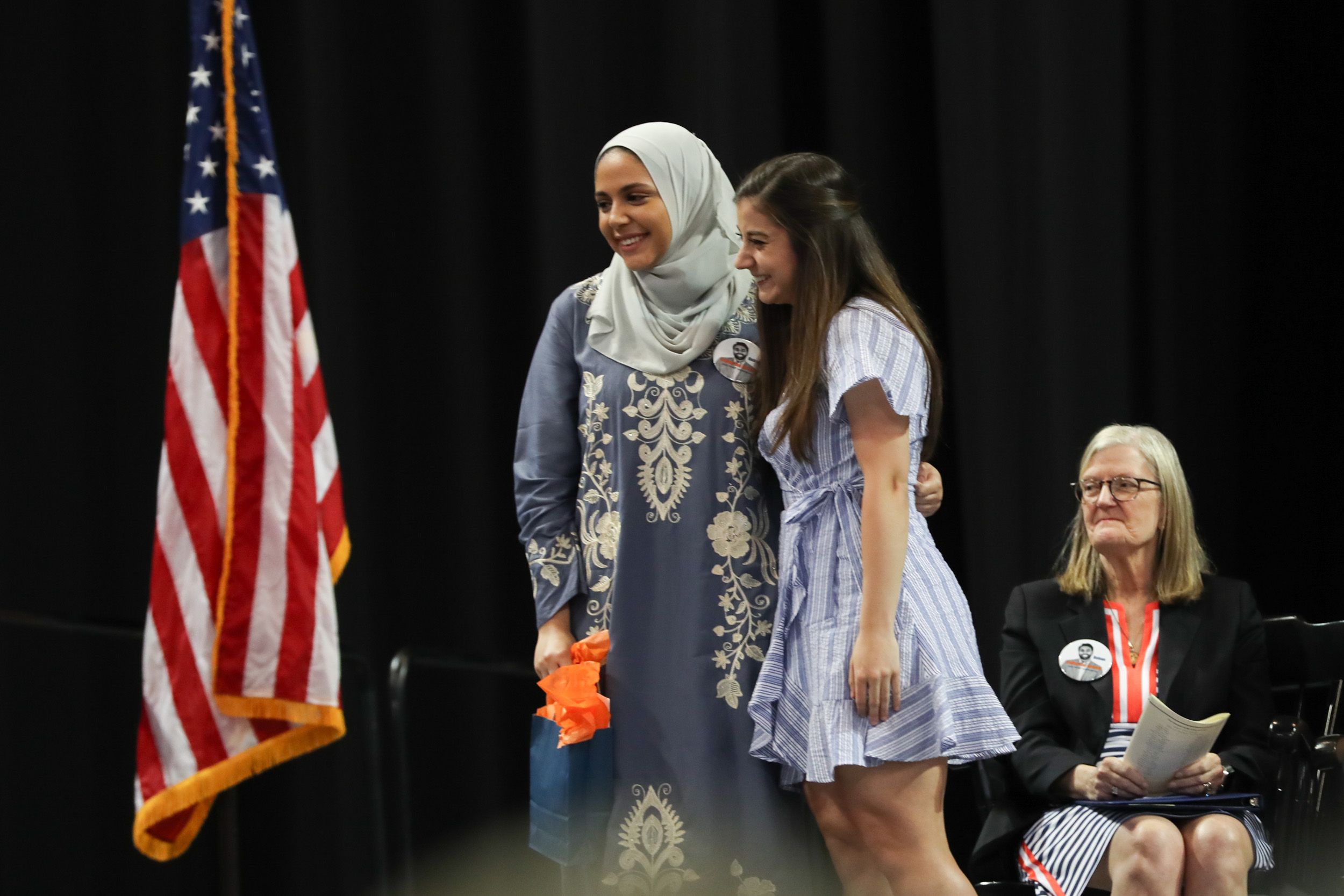 Brazao, right, presented the Cultural Fluency Award to Rawda Fawaz, a political and social thought major.