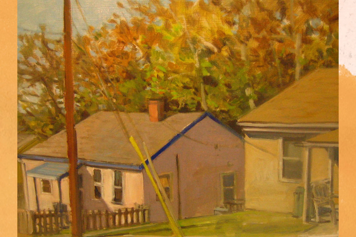 This painting shows Rayon Street in the Belmont neighborhood as it was on Nov. 5, 2015. During World War II, the street was home to housing designed by Frank Ix & Sons to attract and retain workers for their textile factory.