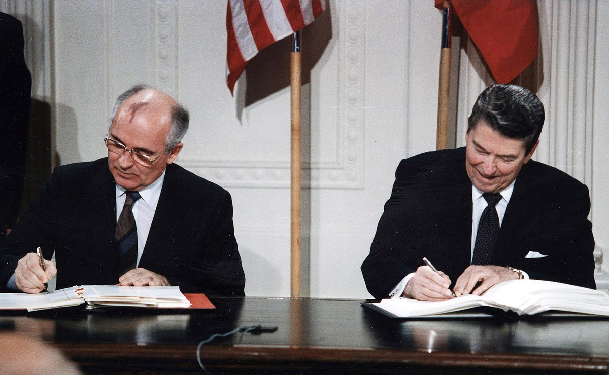 President Reagan and Soviet General Secretary Gorbachev sign the Intermediate-Range Nuclear Forces Treaty in the East Room of the White House in 1987.