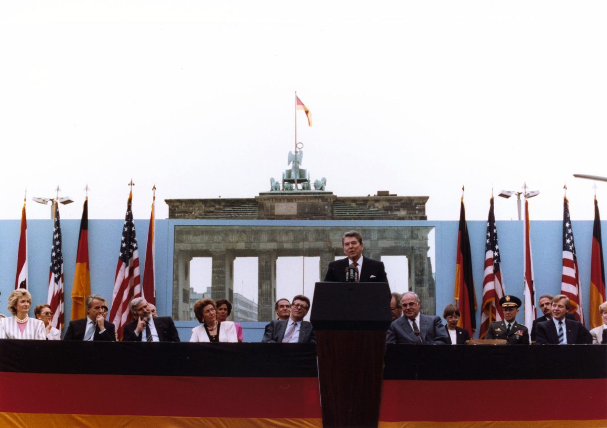 """President Reagan gave a speech at the Brandenburg Gate of the Berlin Wall on June 12, 1987, imploring Gorbachev to """"tear down this wall."""""""