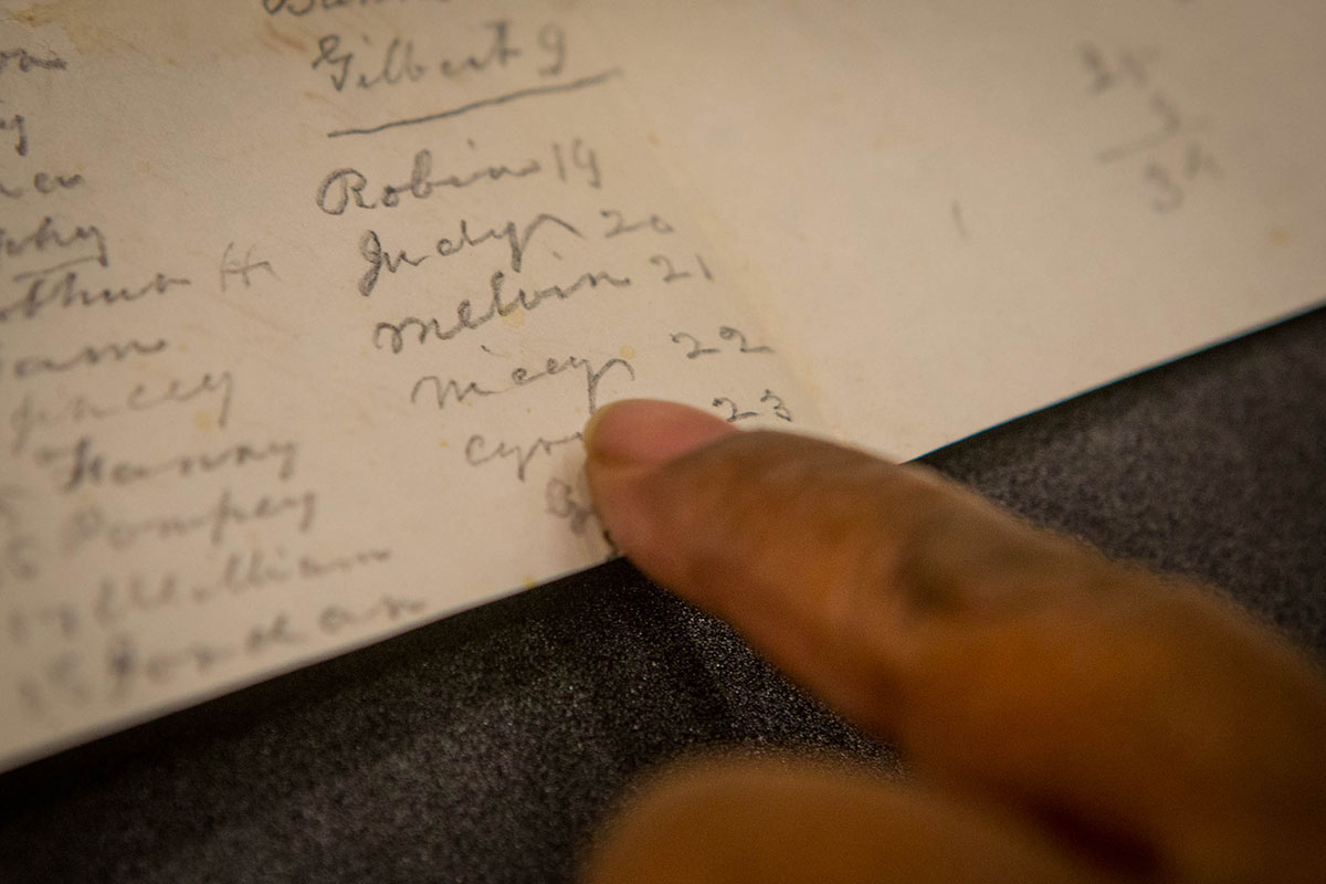 Rush points to her great-great-grandmother Nicey's name among a list of 34 slaves. It was the first mention of her she found outside of official government records.