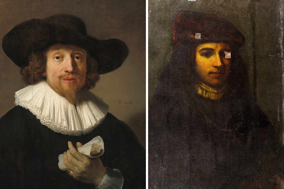 "Left, ""Man with a Sheet of Music,"" by Rembrandt van Rijn. Right, the painting discovered at The Fralin Museum of Art at UVA and attributed to Rembrandt. Art historians question its attribution. (Images from the National Gallery of Art, The Fralin Museum of Art at UVA)"