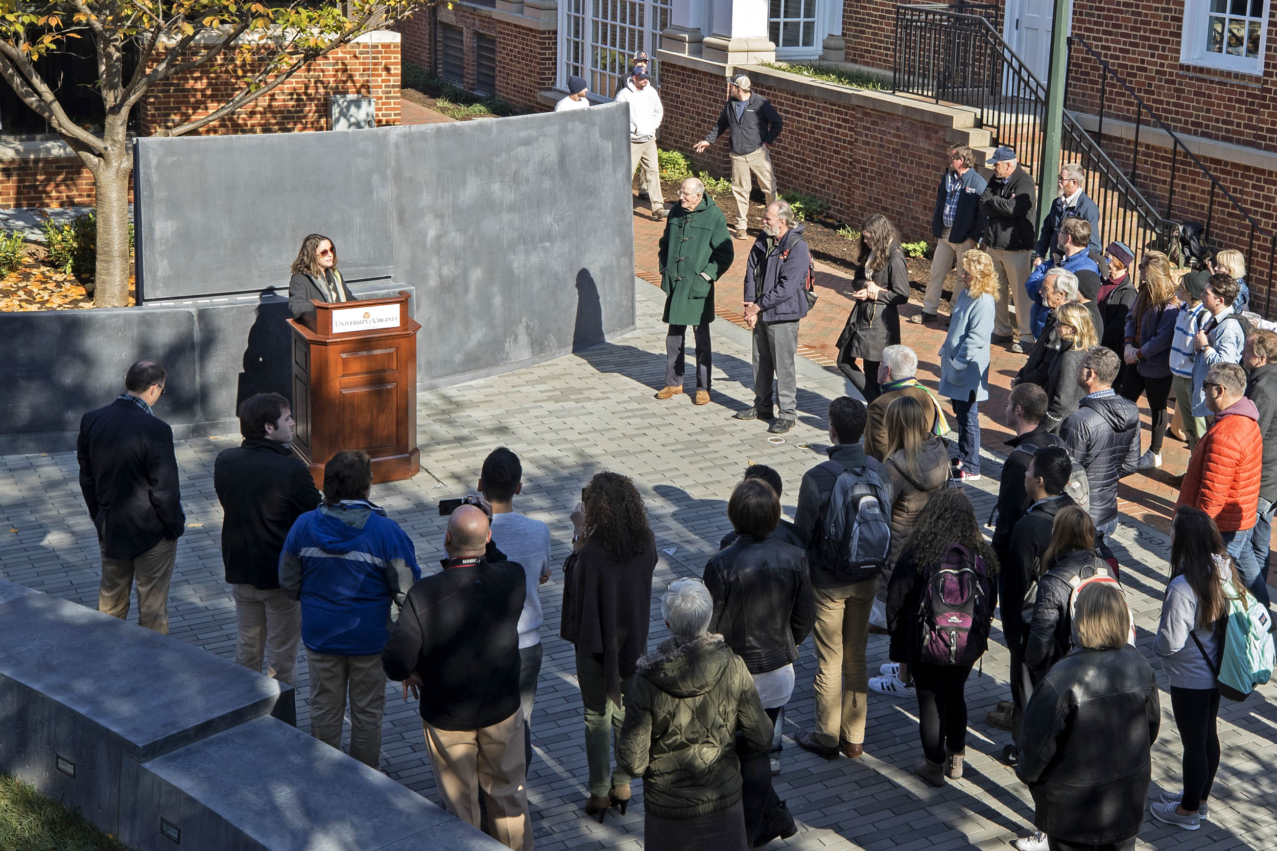 A crowd gathered to dedicate the garden on Friday after years of work by students, faculty and administrators.