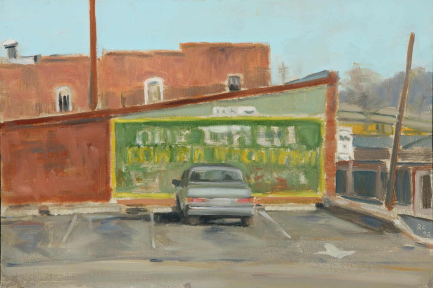 From the collection of Irv and Jackie Brownfield, this painting shows a parking lot above the C&O Restaurant in downtown Charlottesville. Crozier painted it in 1992.