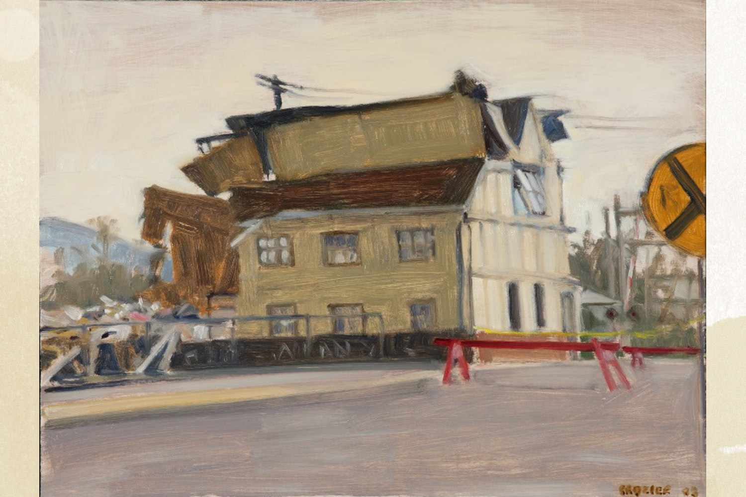 Continuing his interest in demolition and construction, Crozier painted the 2002 demolition of Trax nightclub, notable for hosting the Dave Matthews Band in its early years. The building was also home to a country-western nightclub called Max.