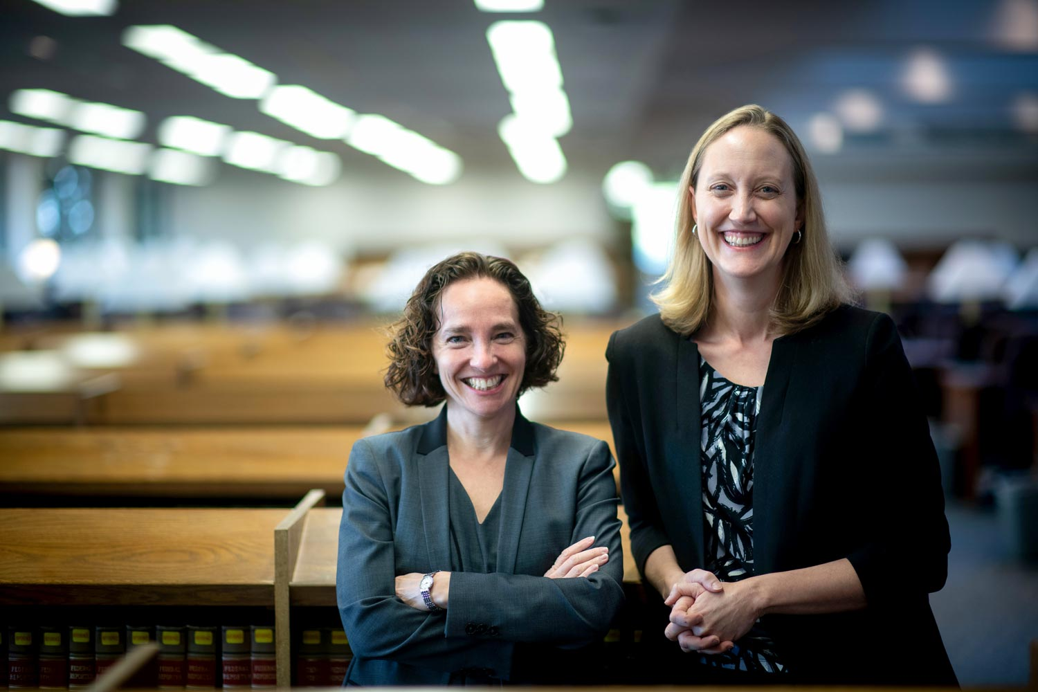 School of Law Dean Risa Goluboff, left, and Vice Dean Leslie Kendrick said the new podcast focuses on all the ways law affects people's everyday lives.
