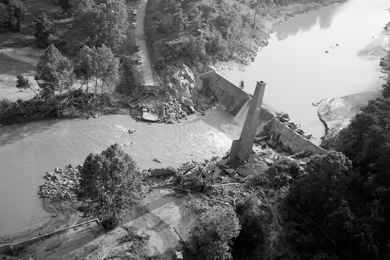 Camille's floods washed out the Schuyler bridge and hydroelectric dam on the Rockfish River in Nelson County. (Photo courtesy The Library of Virginia/Flickr Commons)